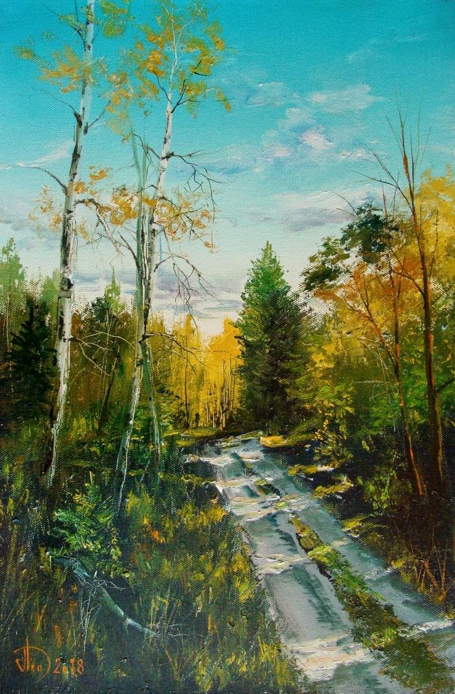 Картина маслом Лесная дорога