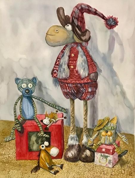 Картина акварелью Мамины игрушки.