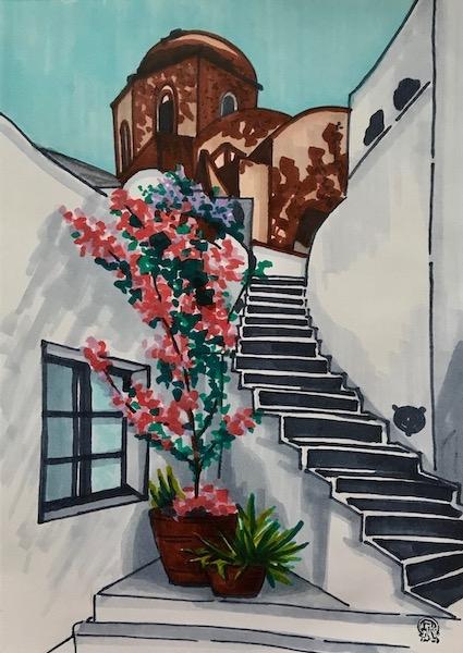 Картина Чёрная лестница.  Скетч.