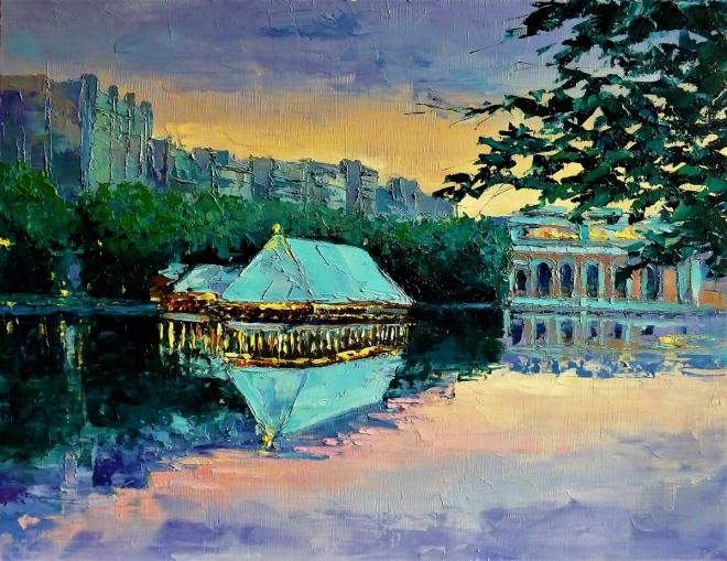Картина маслом Вечер на Чистых прудах