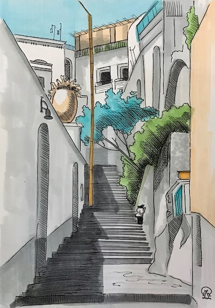 Картина Лестница между домами.
