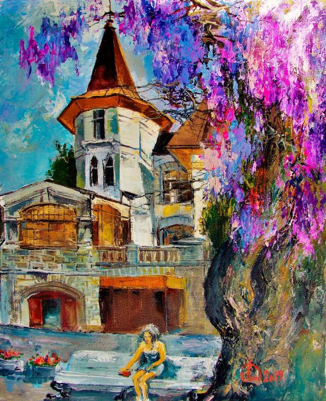 Картина маслом Цветёт Глициния