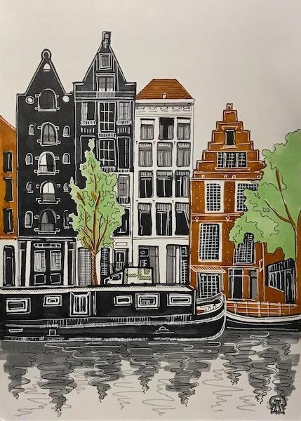 Картина Дома на набережной. Скетч.
