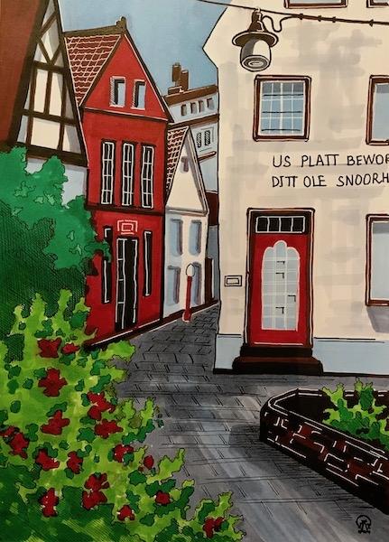 Картина Красный домик. Скетч.