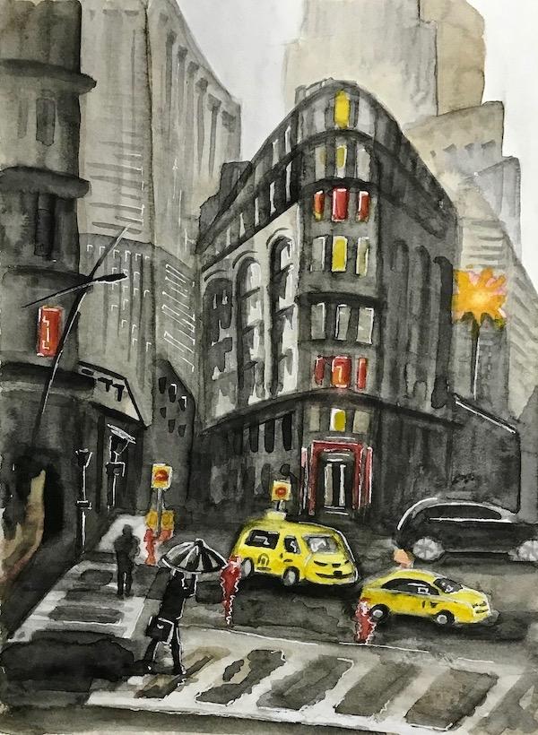 Картина акварелью Дождь в городе. Скетч.