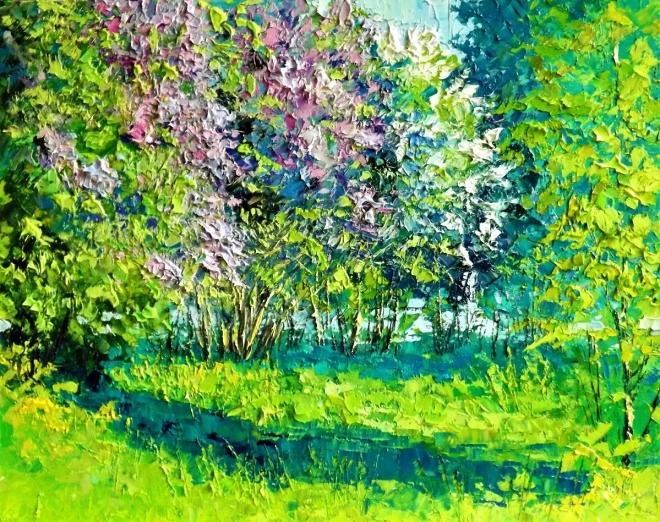 Картина маслом Сирени парк