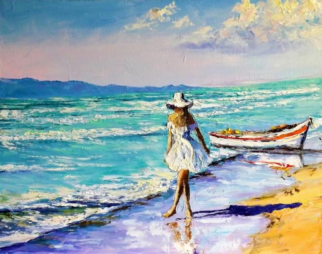 Картина маслом Прогулка у моря