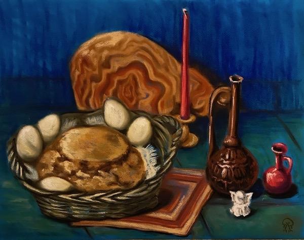 Натюрморт с деревенским хлебом и яйцами.