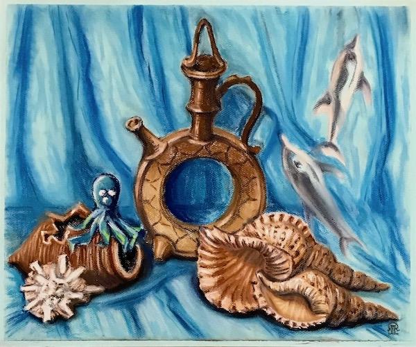 Натюрморт с керамикой и морскими раковинами.