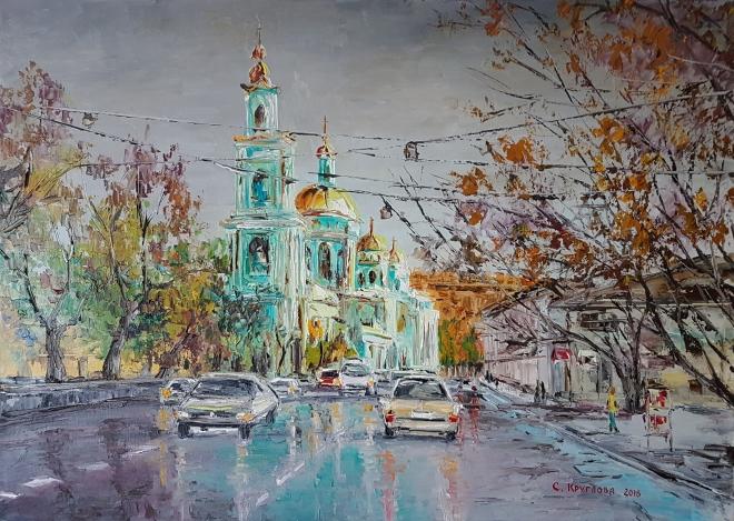 Картина маслом на холсте Елохово. Богоявленский собор