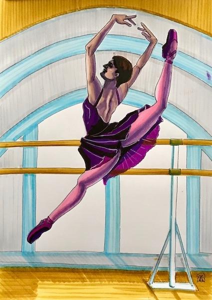 Картина акварелью Балерина. Скетч.