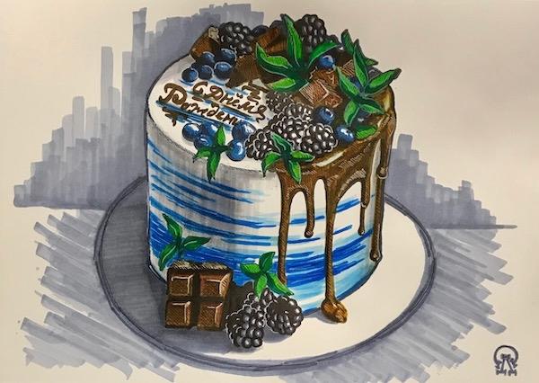 Именинный торт. Скетч.