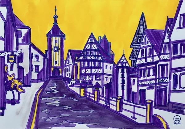 Картина акварелью Германский городок. Скетч.