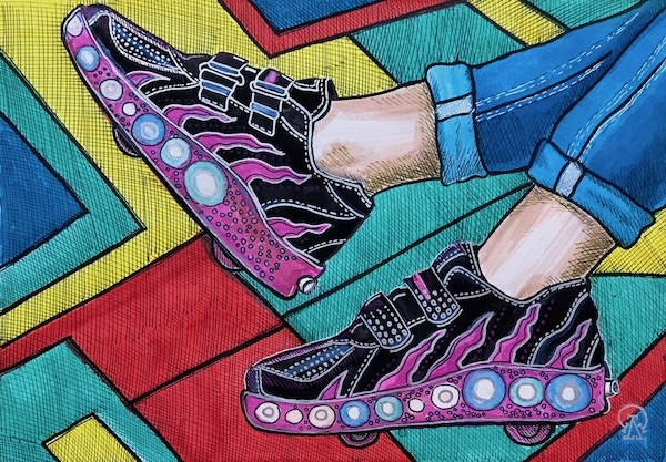 Картина акварелью Лиловые кроссовки. Скетч.