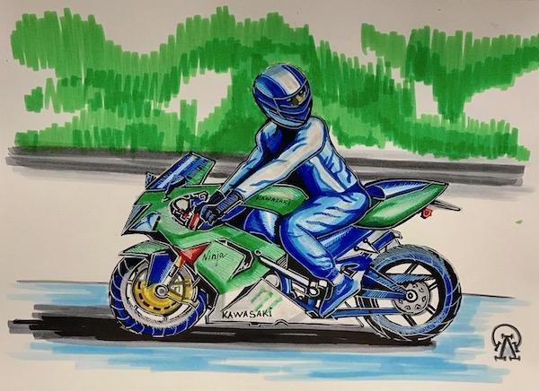 Картина акварелью Мотоциклист. Скетч.