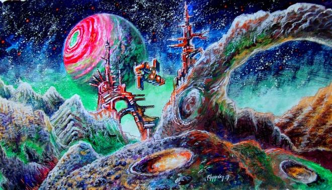 Картина акварелью Ледяная луна экзопланеты.