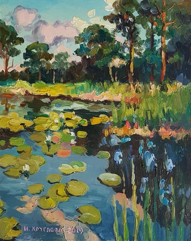 Картина маслом Сосны у пруда