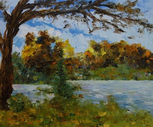 Картина маслом Пейзаж с деревом на фоне гор