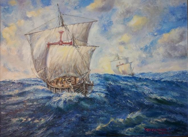 Возвращение кораблей Колумба Pinta и Nina в Испанию в феврале 1493г.
