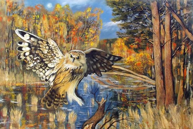 Картина маслом Осень на лесном озер.