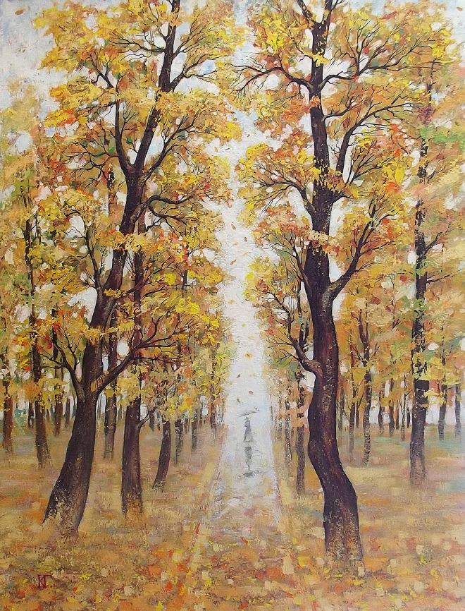 Картина маслом Осенняя алея