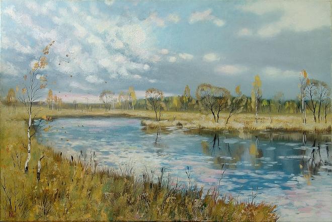 Картина маслом Осень на Сенеже