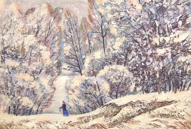 Картина маслом Зимний день