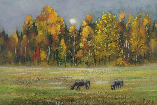 Картина маслом В поле