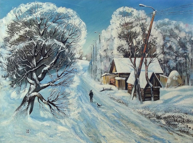 Картина маслом Зимняя дорога