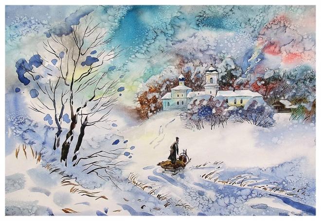 Картина акварелью Еремей едет в монастырь.. Тишина..