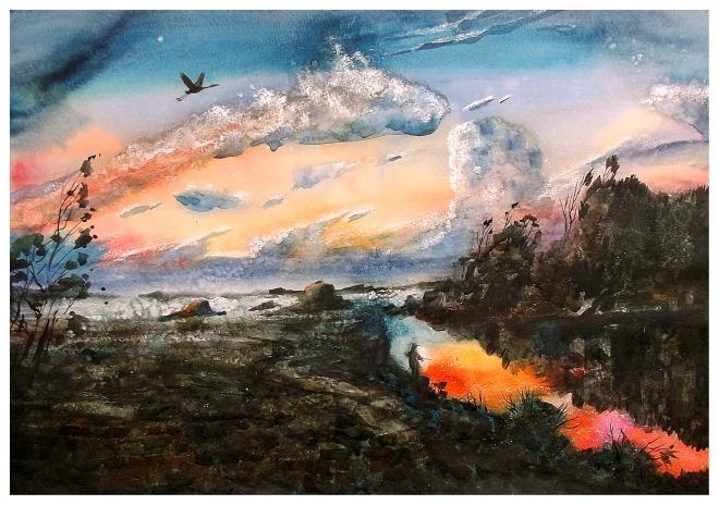 Картина акварелью Вечер на реке Десне.