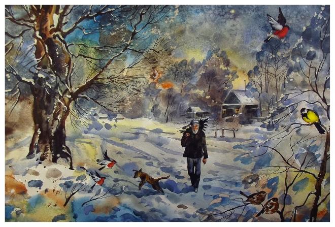 Картина акварелью Михалыч с елочкой.
