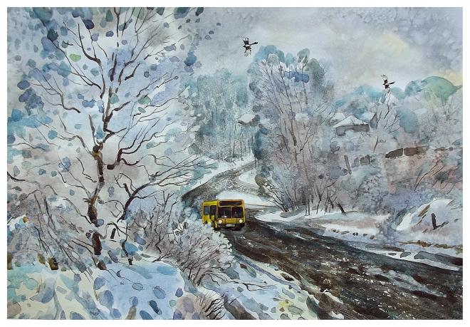 Желтый автобус.