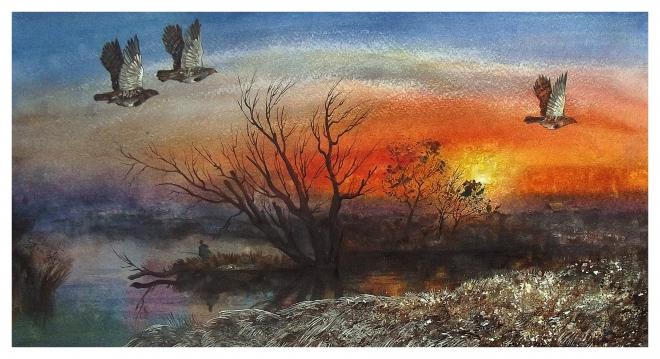 Картина акварелью Солнышко ноября.