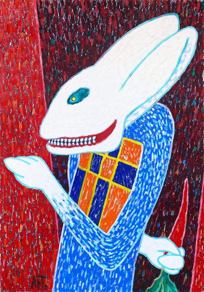 Картина маслом Заяц в лифте