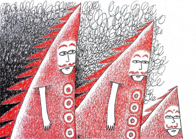 Идущие в красных костюмах