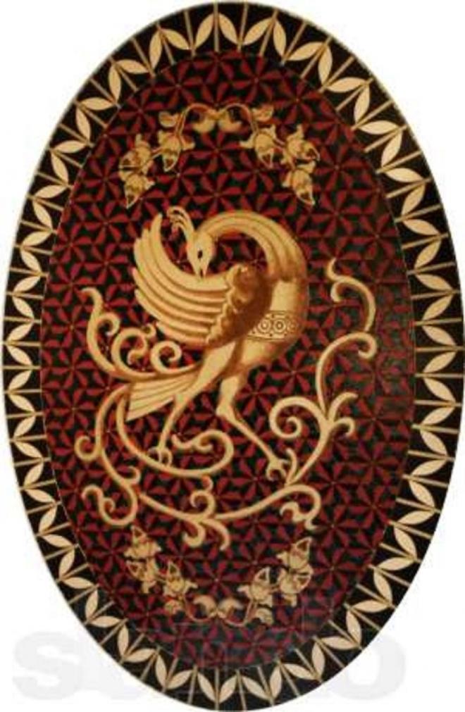 Птица Феникс - столик, инкрустированный кожей