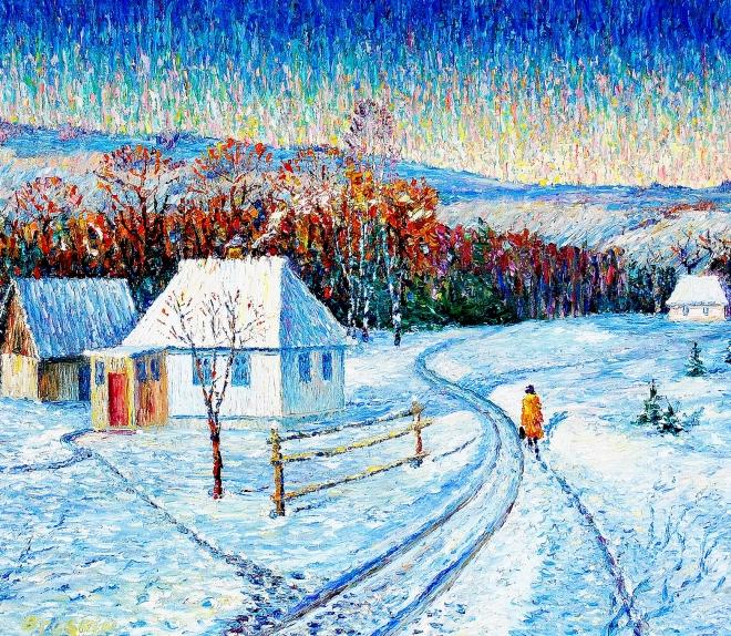 Картина маслом Зимний вечер в селе