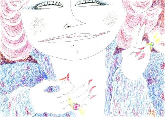 Картина акварелью Женщина с перстнями