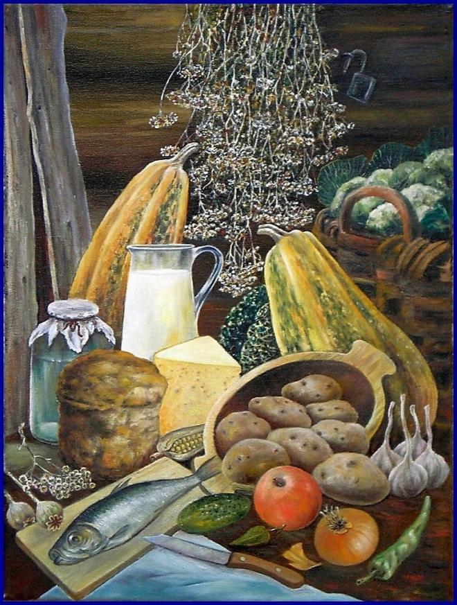 Картина маслом на холсте СЕЛЬСКИЙ РАЗНОСОЛ