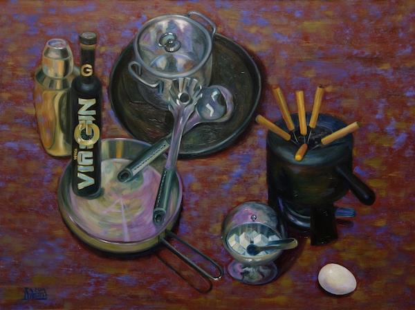 Картина маслом Натюрморт с металлической посудой