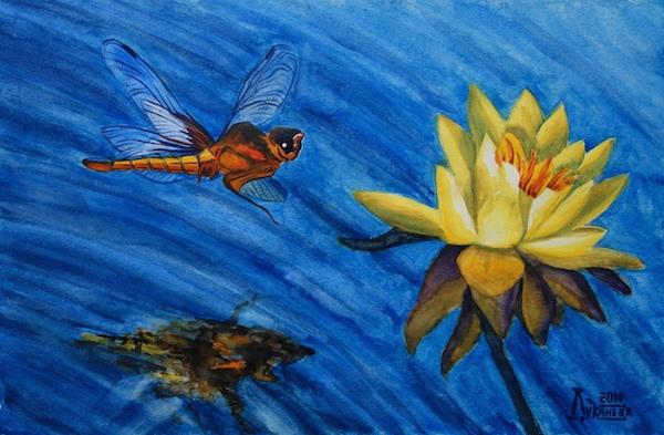 Картина акварелью Стрекоза