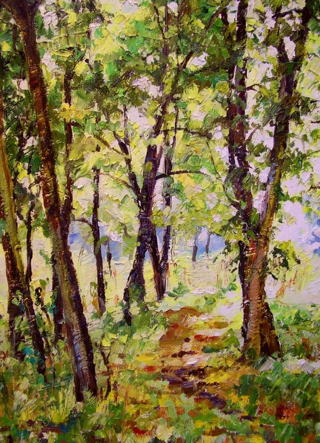 Картина маслом на холсте Тропинка в старом парке