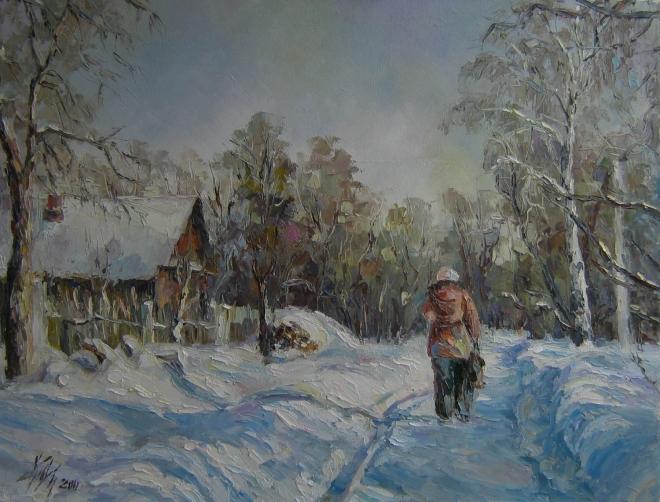 Картина маслом Зимнее утро