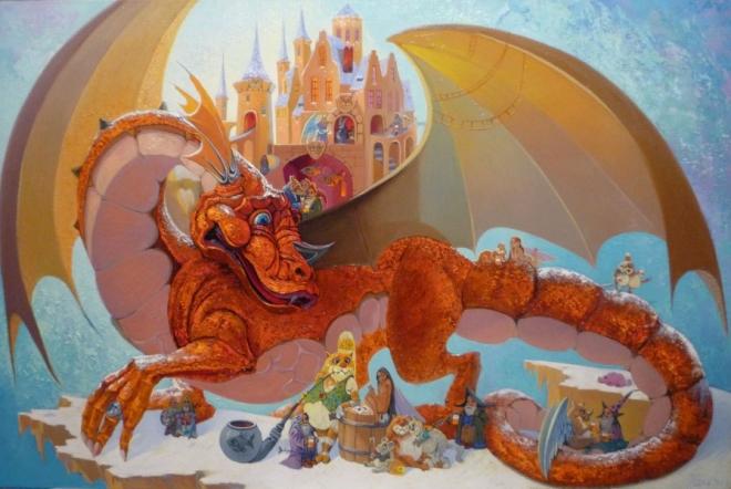 Картина маслом на холсте Золотой дракон