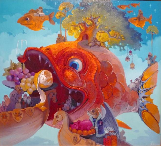 Картина маслом на холсте Золотая рыба