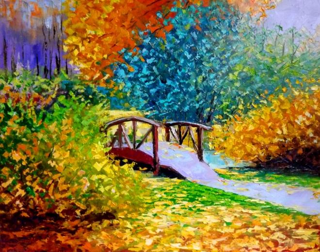 Картина маслом Осень в Сиреневом парке