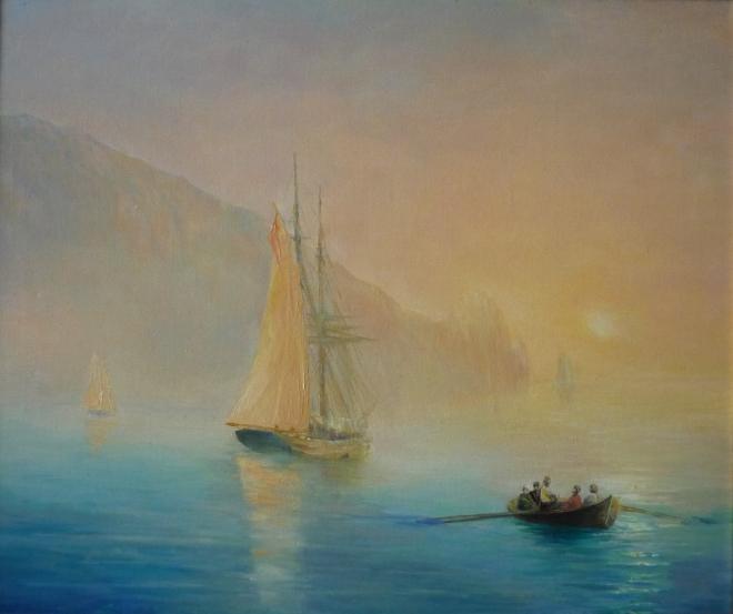 Берег моря туманное утро