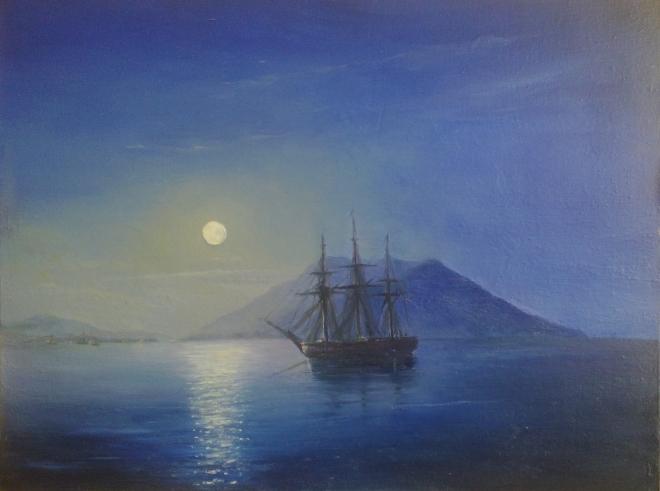 Парусник в лунную ночь