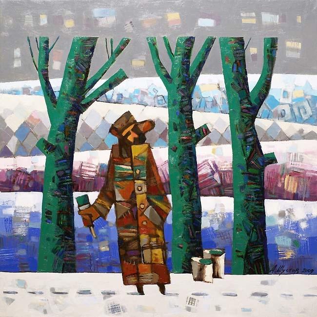 Картина маслом Зеленые деревья